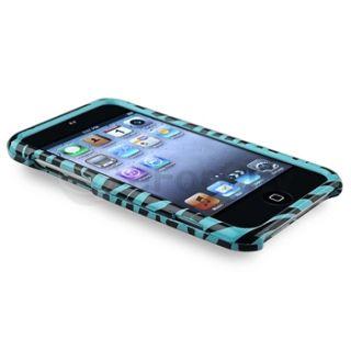 Blue Black Zebra Hard Case Cover Anti Glare Protector for iPod Touch 4