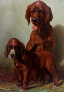 Gustave Lorincz Dog Painting Irish Setters Dogs Oil on Wood Panel