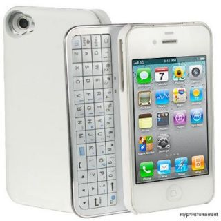 New Bluetooth Sliding Keyboard Hard White Case Cover for Apple iPhone4