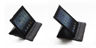 Rotating Smart Cover PU Leather Case For New iPad 3 3rd Gen – Black