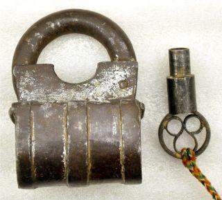 Original Antique Hand Crafted Iron Spring Lever Mechanism Lock