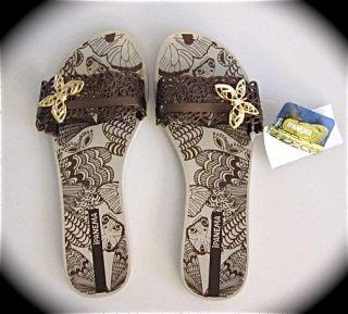 Ipanema Elegance Beige Bronze Butterfly Flip Flops Sandals Choose Size