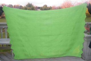 IRISH KELLY GREEN HAND KNIT WOOL BEDSPREAD BLANKET THROW AFKAN AFGHAN