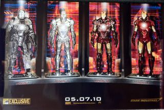 IRON MAN 2 Rare 2009 Comic Con Promo Poster MARK 1  IV SUITS ROBERT