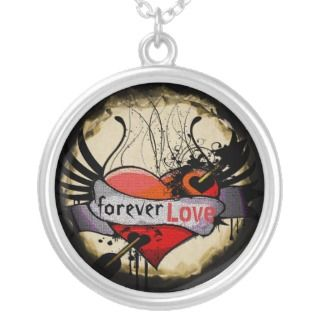 Forever Love Necklace Grunge Burnt Parchment
