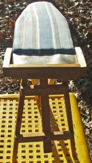 Antique Primitive Wood Ironing Board Tin Hot Plate Blue Cloth Cover