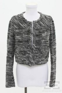 Isabel Marant Grey Black Wool Cropped Jacket Size 1