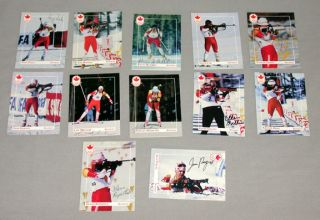 12 Canadian Olympic Team 1992 Winter Olympic Signed Biathlon Cards