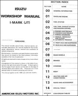 1986 Isuzu I Mark Shop Manual 86 Original Repair Service Book Imark