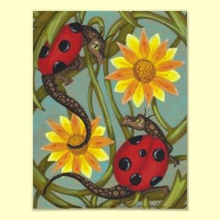 Ladybug Dragons + Flowers big eye fantasy poster posters by