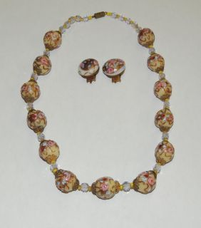 WEDDING CAKE Venetian Italian Glass Bead Necklace w earrings 18