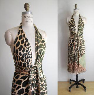 ISSA London Safari Animal Print Silk Jersey Halter Wrap Party Dress UK