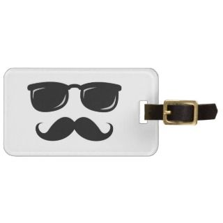 Funny incognito smiley mustache trendy hipster bag tags