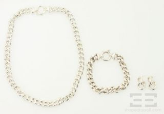Italian Sterling Silver 3 Piece Chain Necklace, Bracelet & Earrings