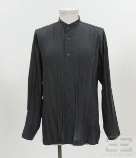Issey Miyake Mens Charcoal Pleated Button Up Shirt Size Medium