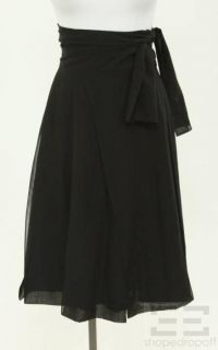Issey Miyake Black Wool Pleated Wrap Skirt Size 2