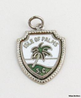Isle of Palms SC Charm Sterling Silver Enamel Souvenir Travel Pendant