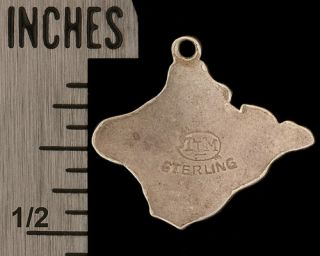 Vintage Sterling Silver Charm Isle of Wight Map TLM