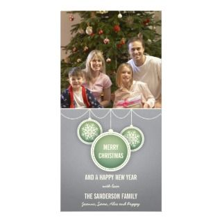 Merry Christmas Holiday Card with Baubles   Silver Picture Card
