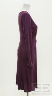 Issa London Royal Purple Silk Gathered Front V Neck Dress Size US6