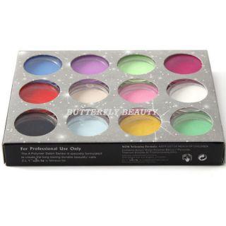 12 Colors Carving Sculpture Glitter Powder Nail Art L40
