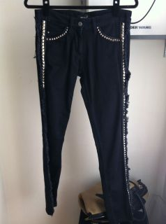 Isabel Marant Leather and Fringe Jeans Sz 0