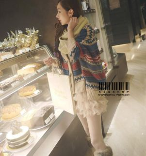 USD J41 Women Korean Chic Cape Sweater Cardigan Cape Multi Color