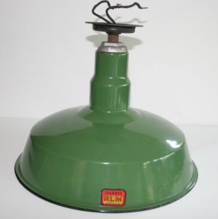 Vintage Ivanhoe Industrial Garage Green Porcelain Ceiling Light