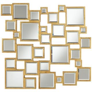Abstract Square 25 Wide Antiqued Gold Mirror   #W4494