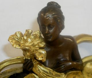 Antique Look Woman Figure Bronze Sculpture Statue