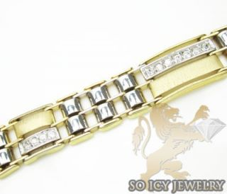 Mens 14k Yellow White Gold Italian CZ Bracelet