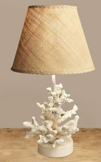 Ocean Sea Coral Resin Base Table Lamp with Burlap Shade