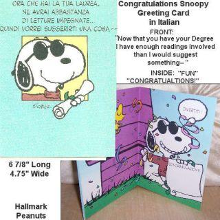 New Snoopy Hallmark Greeting Card in Italian Joe Cool Graduation