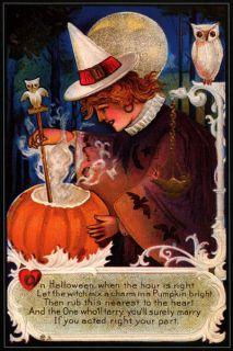 Pumpkin Moon Black Cat Greetings Halloween Vintage Poster Repro