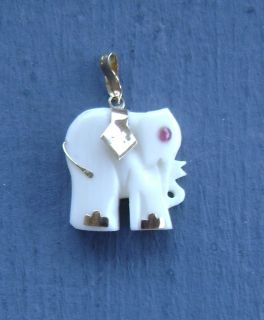 Carved Ox Bone Faux Ivory Elephant Pendant Charm 14k Gold