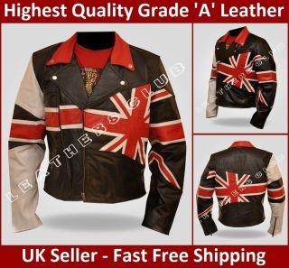 Mens Union Jack Black Vintage Brando Motorcycle British Bikers