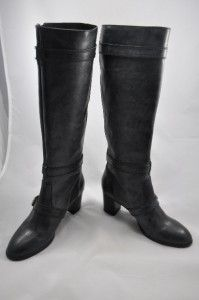 Crew Miller Mid Heel Motorcycle Tall Boots 8 New Black $350 Sold Out