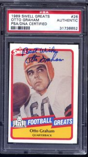 Otto Graham Auto Signed 1989 Swell Greats 26 HOF PSA DNA Certified