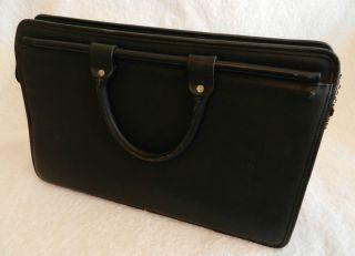 Jack Georges Black Leather Briefcase Laptop Case Nice