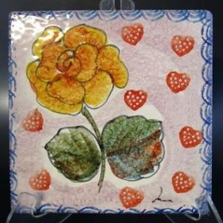 Hand Painted HP Terra Cotta Pottery Tile Italy