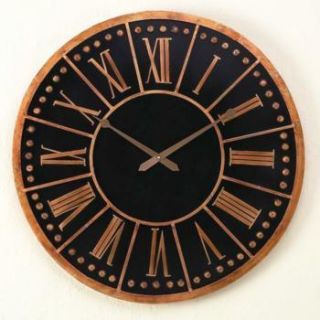 Horchow Oversize Wood Italian Gold Iron Wall Clock 31D