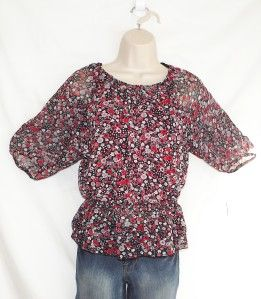 IZ Amy Byer Girls Red Black Sheer Floral Layered Peasant Blouse Size L