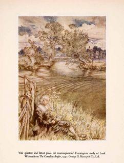 1960 Tipped in Print Arthur Rackham Art Izaak Walton Compleat Angler