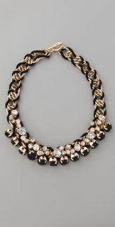 Adia Kibur Black Stone & Crystal Cluster Necklace