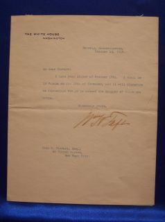 President William H Taft Signed White House Typed Letter TLS Autograph