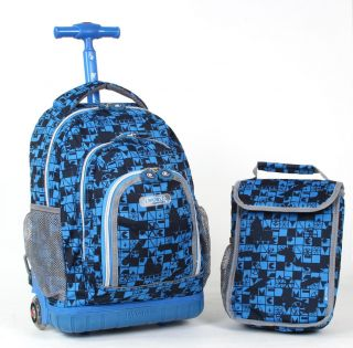 World Shadow Kids Rolling Backpack w Lunch Bag