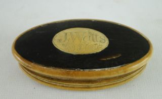 Antique 18 19c J Watts Carved Cow Horn Bone Snuff Box Tobacco Holder