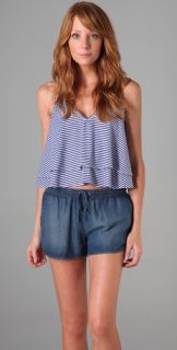 MINKPINK Line Up Striped Layered Tank