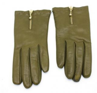 Crew Collection Womens Zip Leather Gloves $118 Olive Green M