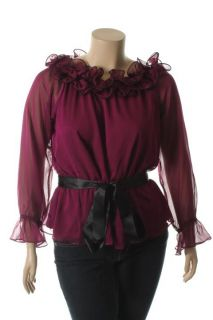 Jr Nites New Purple Chiffon Wire Ruffled Belted Long Sleeve Blouse Top